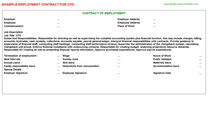 Cfo Contract Template Cfo Job Employment Contract