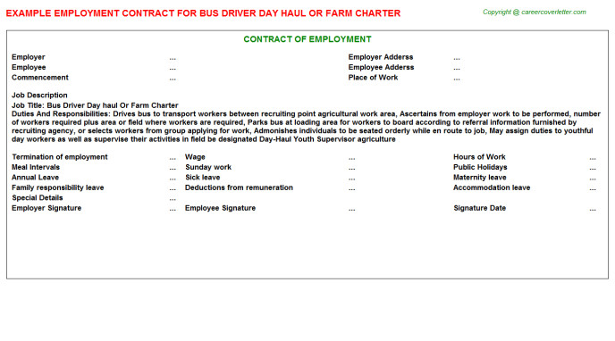 Charter Bus Contract Template Bus Driver Employment Contracts Samples