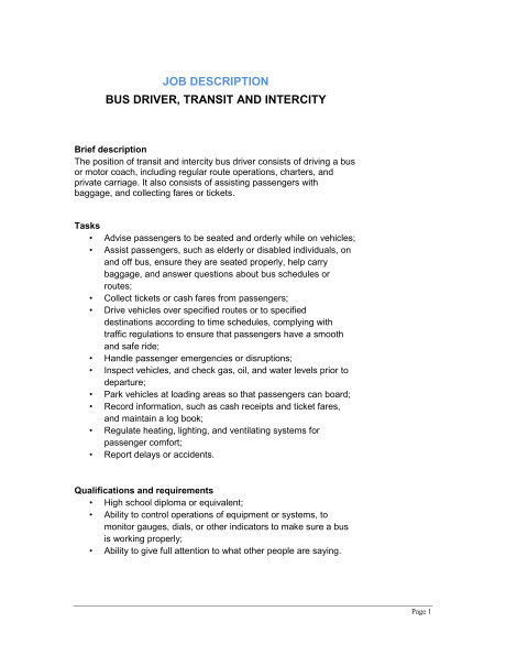 Charter Bus Contract Template Bus Driver Transit and Intercity Job Description