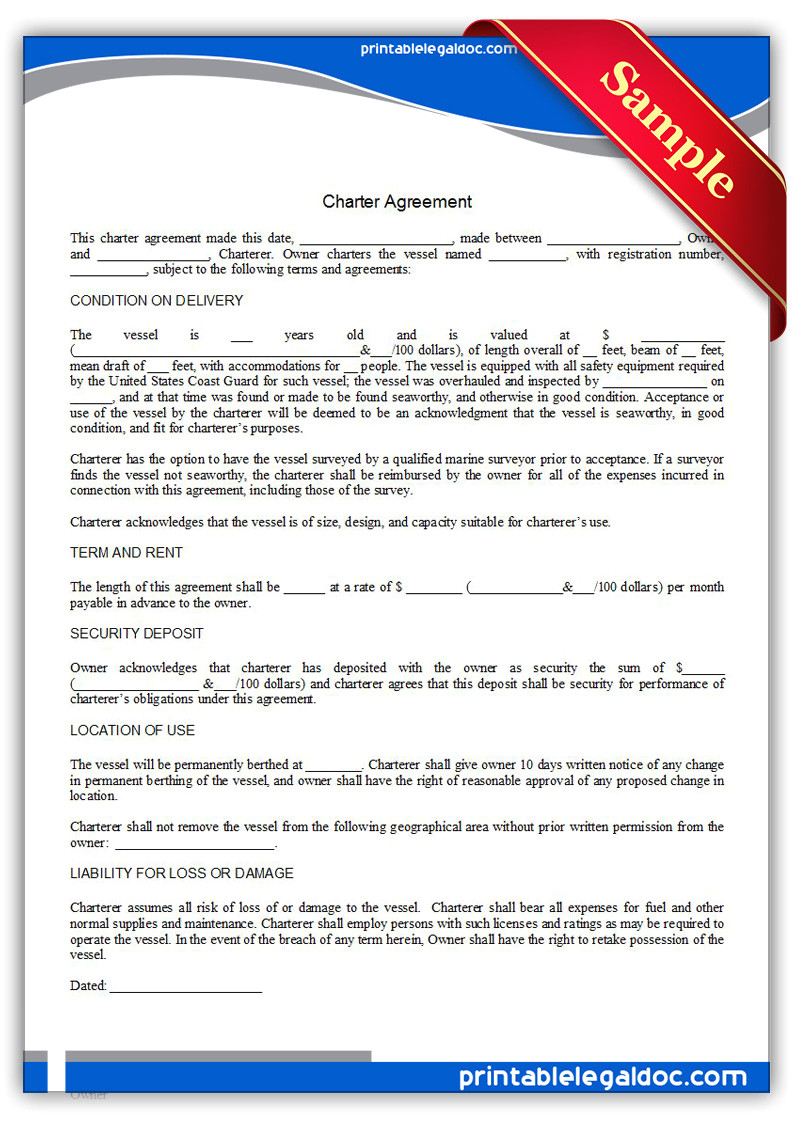 Charter Bus Contract Template Free Printable Charter Agreement form Generic