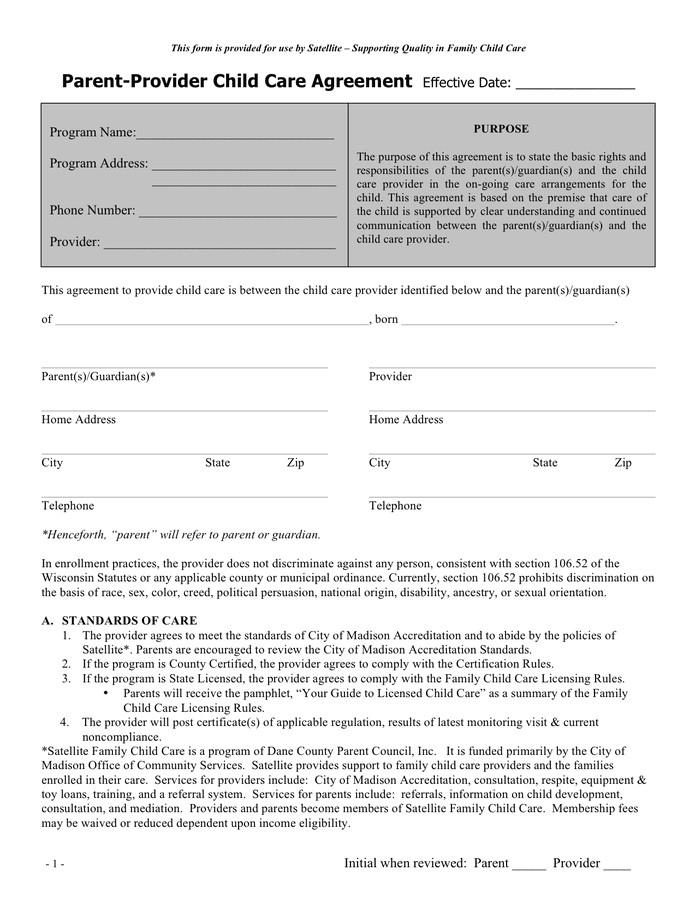 Child Care Provider Contract Template Parent Provider Child Care Agreement Sample In Word and