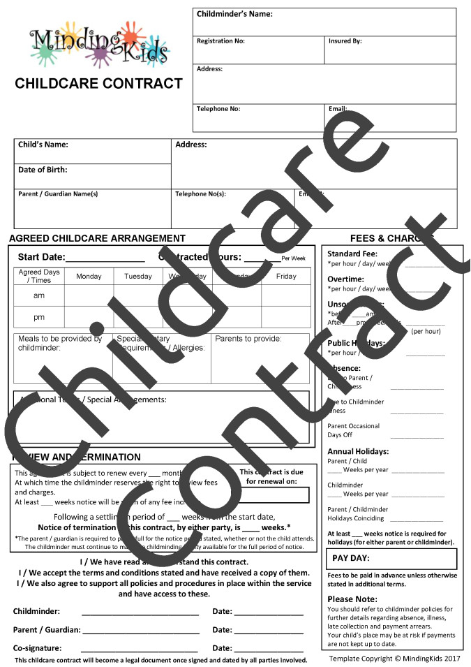 childminding contracts
