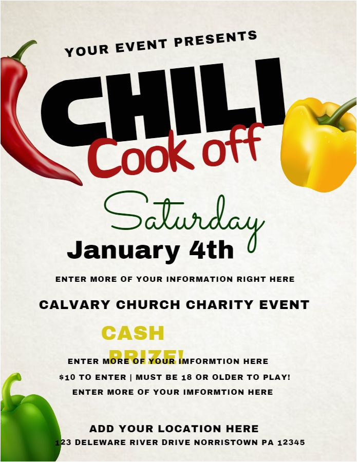 chili cook off poster templates