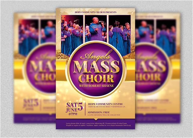 Choir Flyer Template Mass Choir Concert Flyer Template Inspiks Market