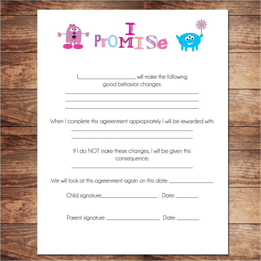 printable girls contract behavioral