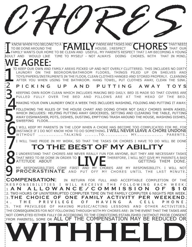 Chore Contract Template Would You Give This Chores Contract to Your Kids