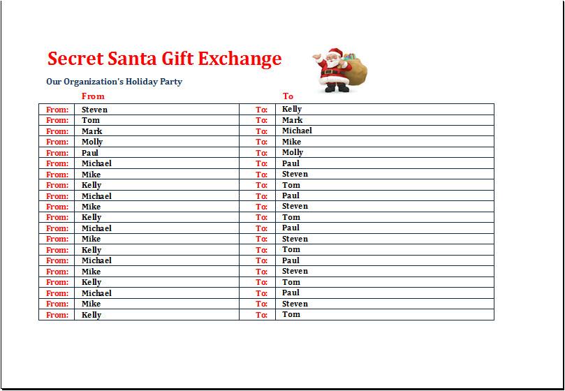 secret santa gift exchange list