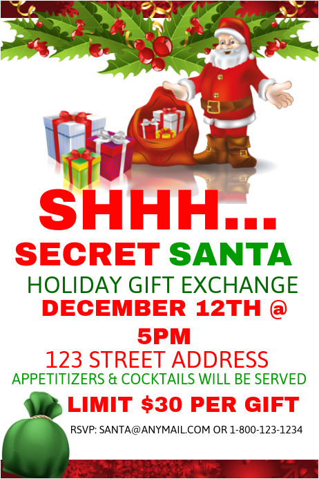 Christmas Gift Exchange Email Template Secret Santa Holiday Gift Exchange Template Postermywall