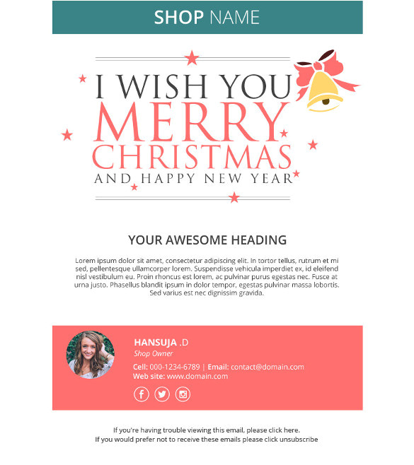 sample holiday email