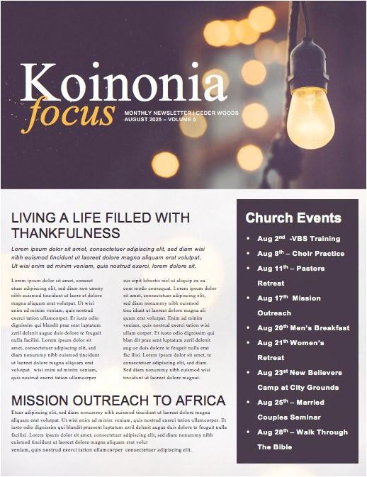 be the light church newsletter template