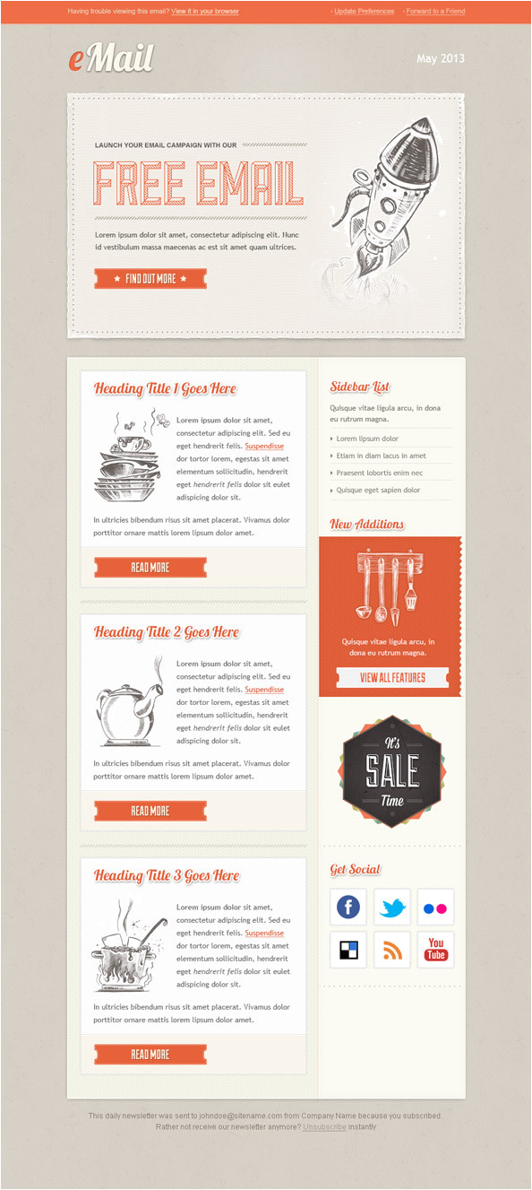 vintage email template