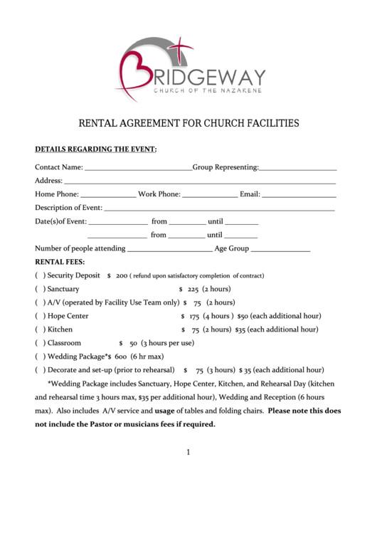 bridgeway church rental agreement for church facilities form