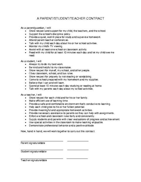 parent student teacher contract pdf