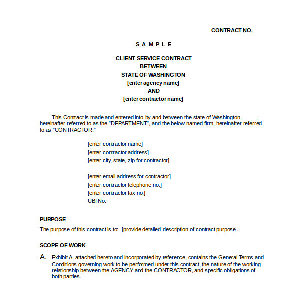 Client Service Contract Template 23 Simple Contract Template and Easy Tips for Your