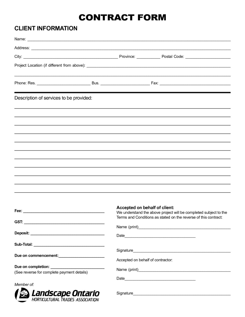 nice sample of printable blank contract template with client information and description of service