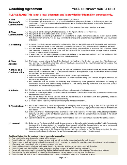 client coaching agreement template sample