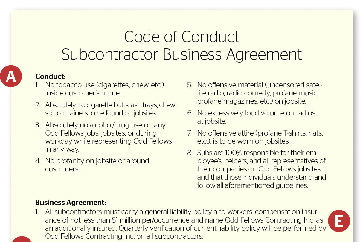 playing by the rules subcontractor agreement
