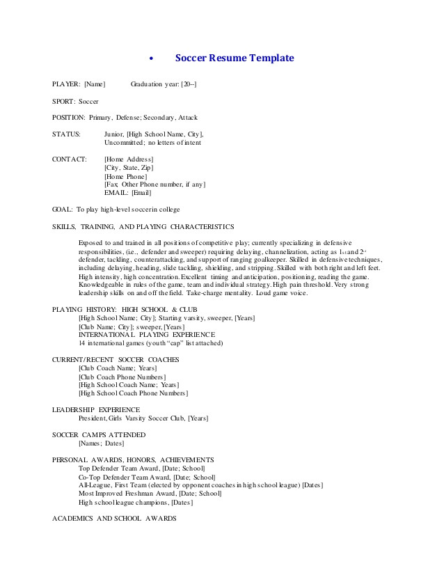 soccer resumetemplateandcoverletter