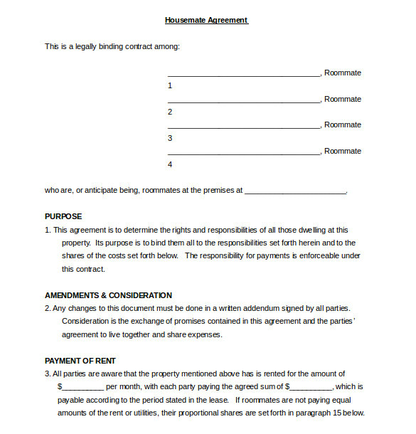 College Student Living at Home Contract Template Roommate Agreement Template 12 Free Word Pdf Document