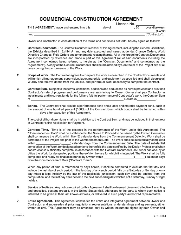 commercial construction agreement sample