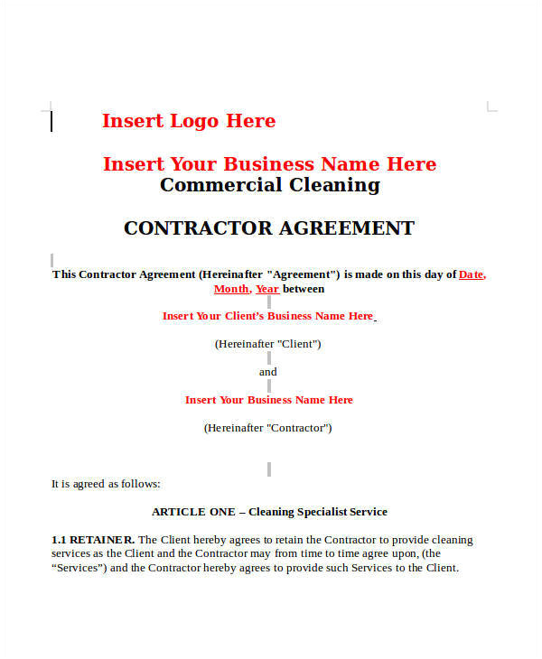 sample cleaning contract template