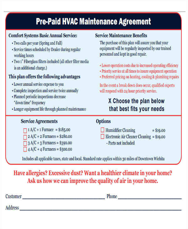 Commercial Hvac Maintenance Contract Template 12 Maintenance Agreement Free Word Pdf format Download