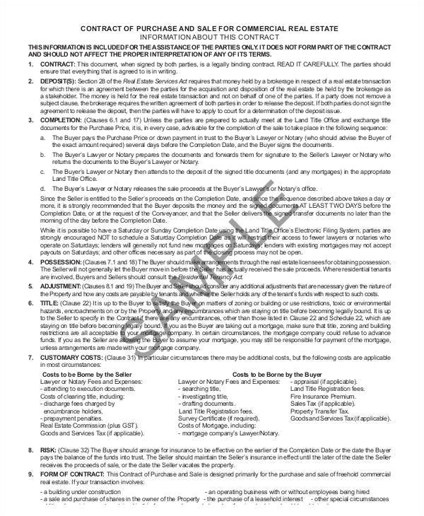 Commercial Real Estate Purchase Contract Template Sample Commercial Real Estate Purchase Agreement 7