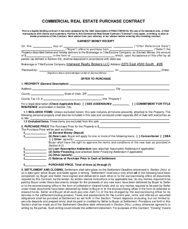 Commercial Real Estate Sales Contract Template 7 Sample Commercial Purchase Agreements Word Pdf