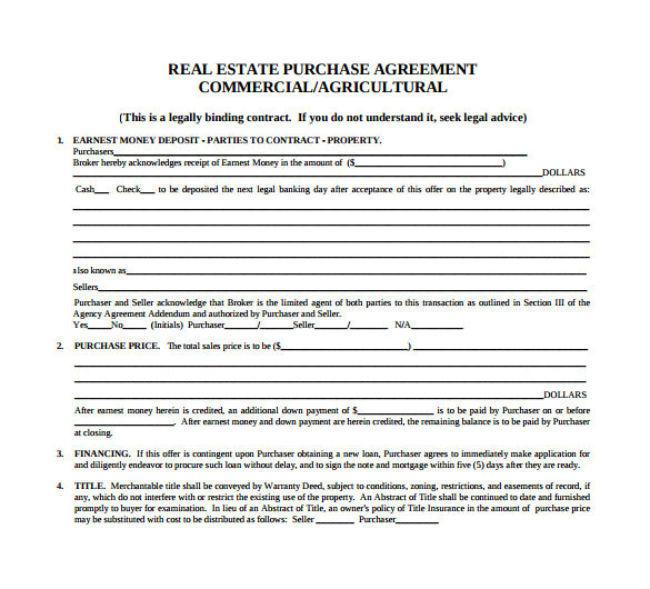 Commercial Real Estate Sales Contract Template Sample Home Purchase Agreement 6 Documents In Pdf Word