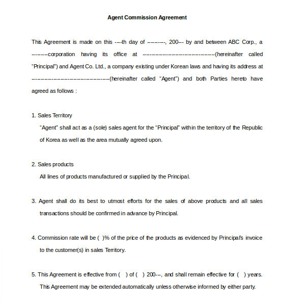 Commision Contract Template 22 Commission Agreement Templates Word Pdf Pages