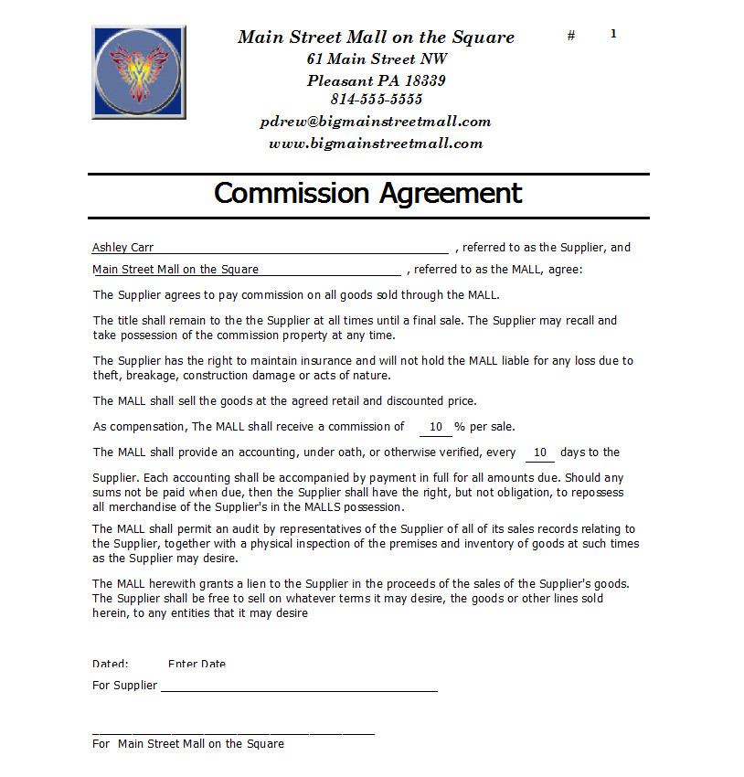 commission agreement templates