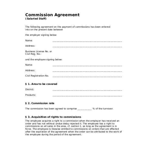 Commission Based Contract Template 12 Commission Agreement Templates Word Pdf Pages