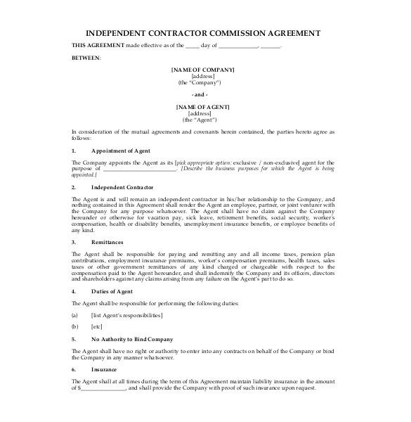 sample commission agreement