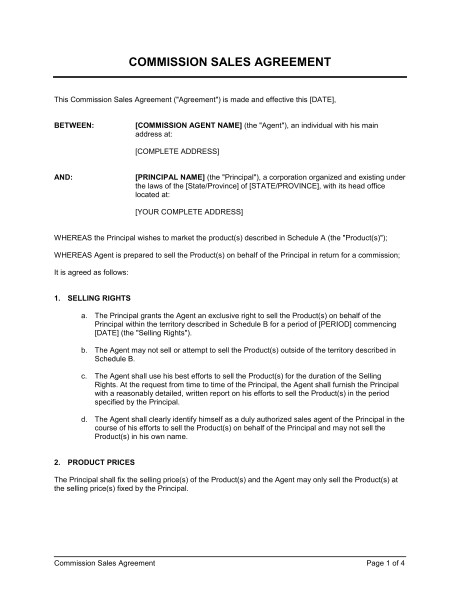 Commission Only Contract Template Commission Sales Agreement Template Word Pdf by