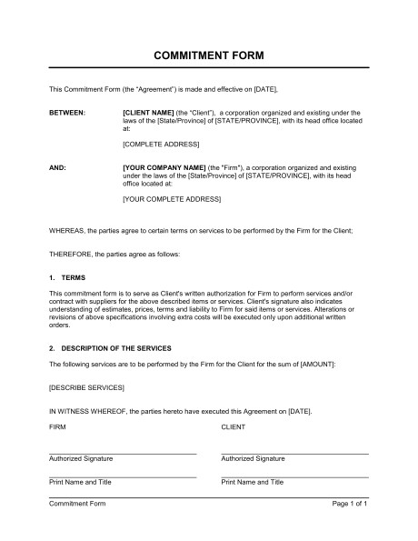 Commitment Contract Template Commitment form Template Word Pdf by Business In A Box