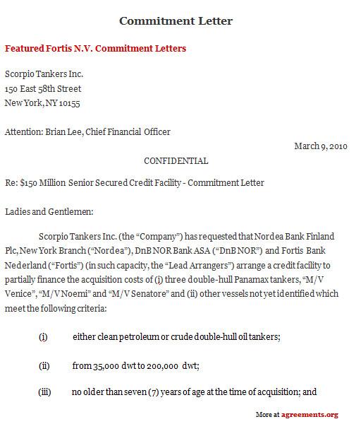 commitment letter agreement
