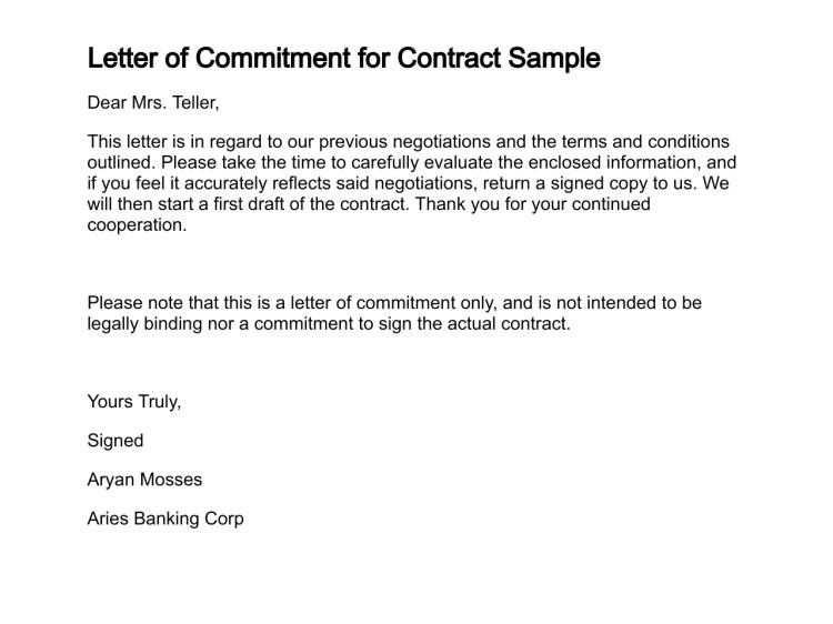 letter of commitment