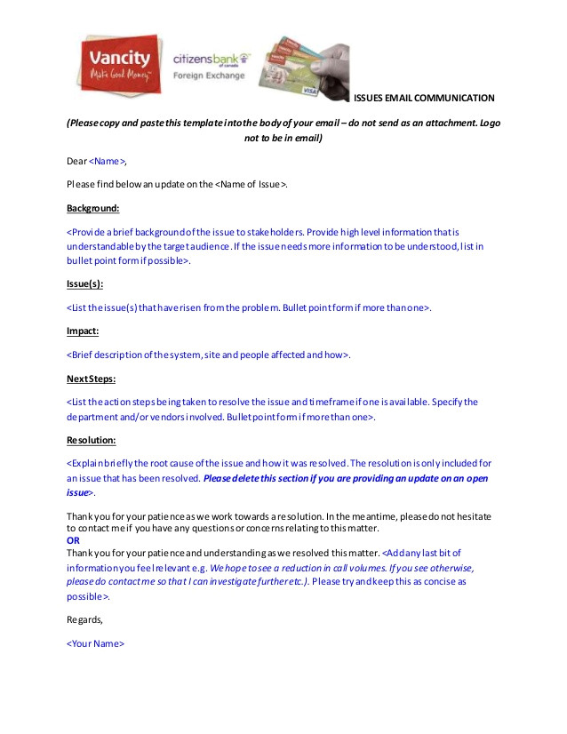 issues email communication template