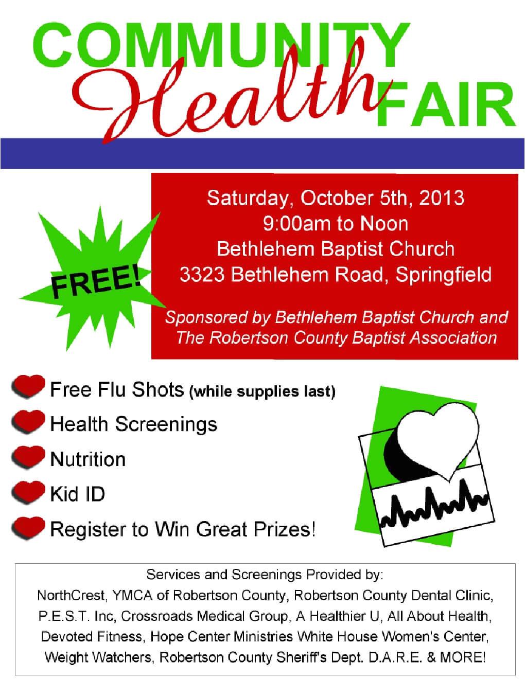 free community health fair october 5th