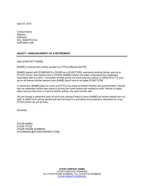 announcement of a retirement d504