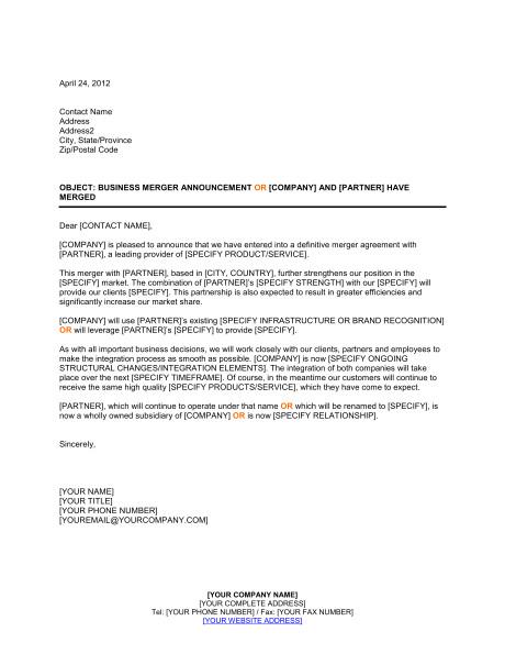 announcement of business merger d1377