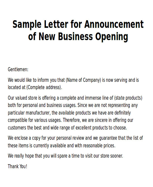 new business letter