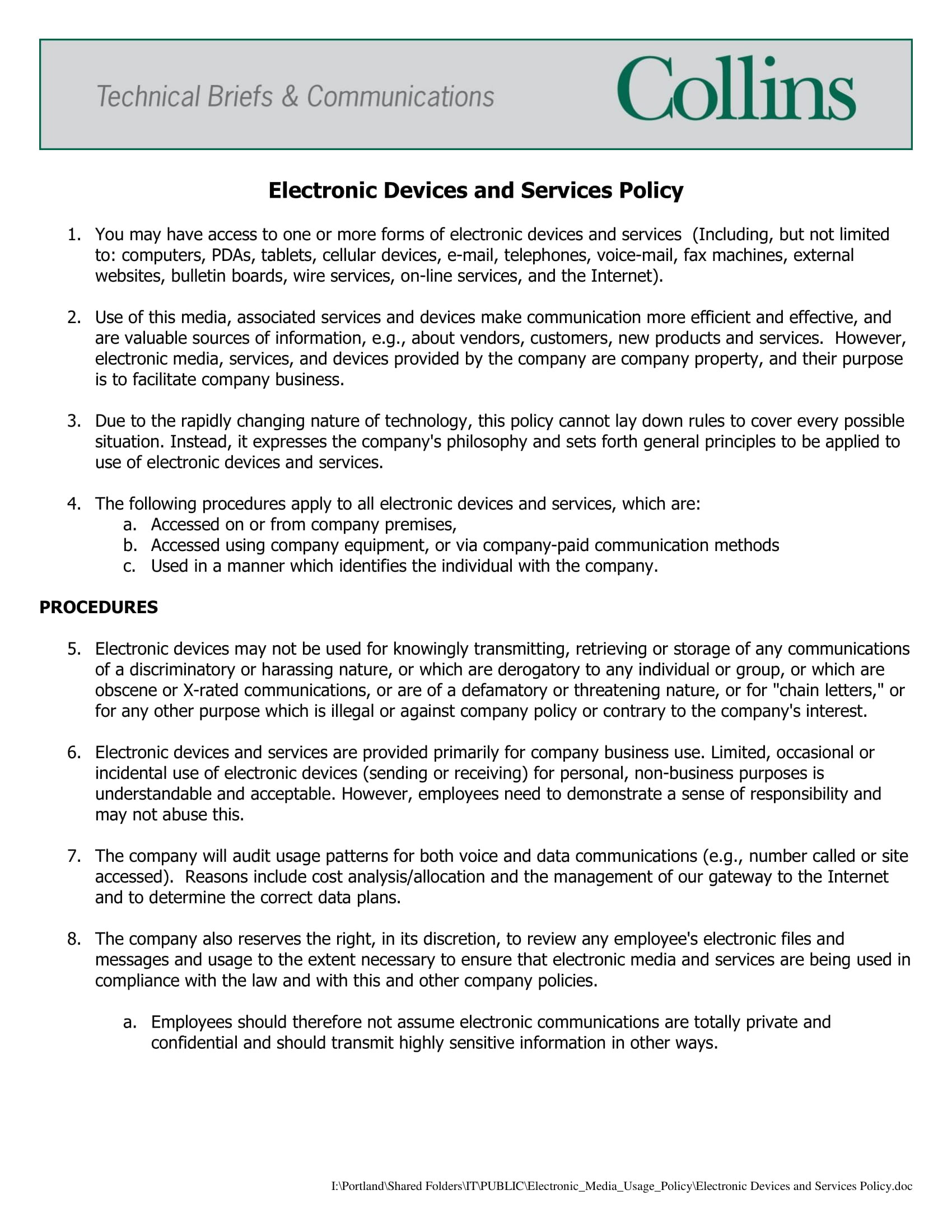 employee email policy