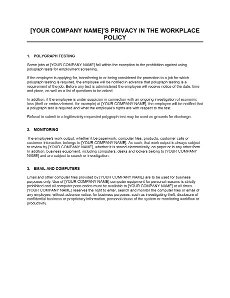 policy on privacy and employee monitoring d724