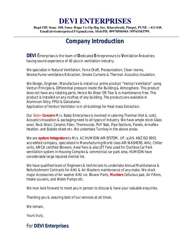 1devi company profile letter