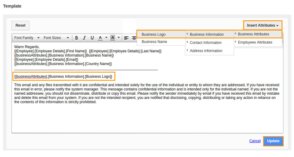 how do i customize email signature template in employees app
