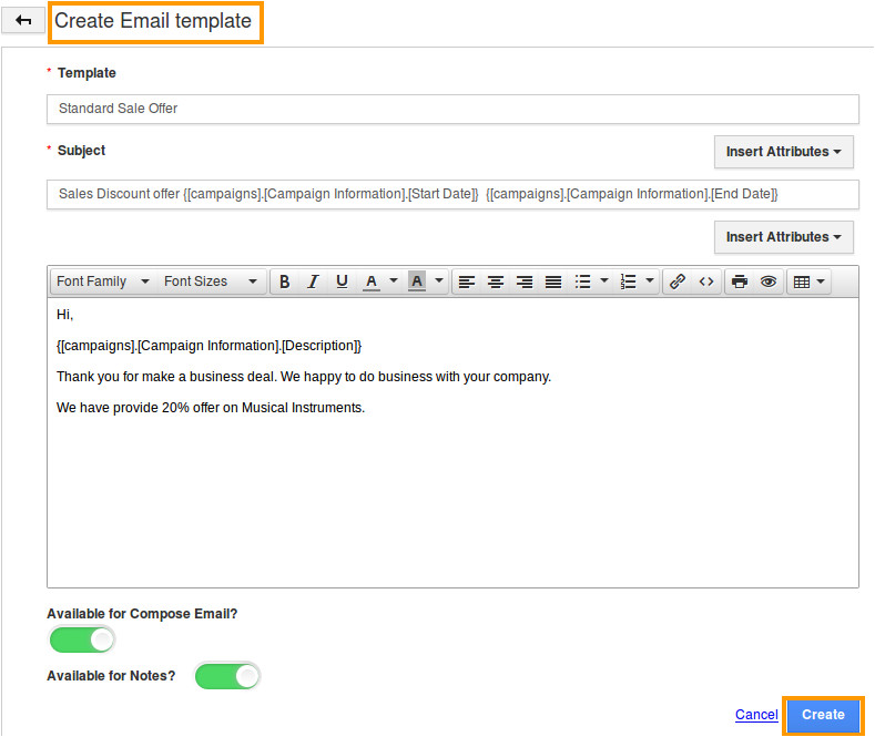 how do i create email template in campaigns app