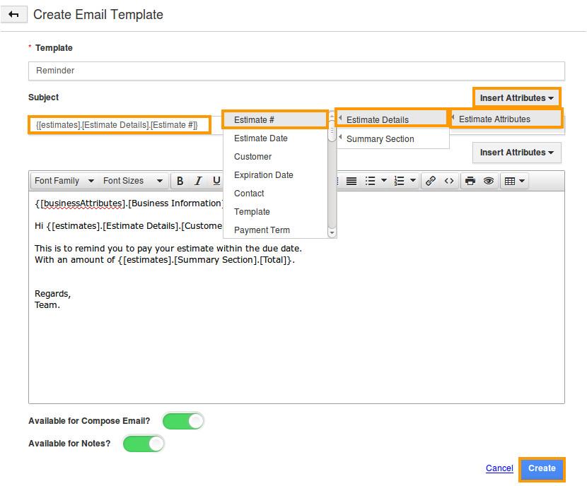 how do i create message template in estimates app