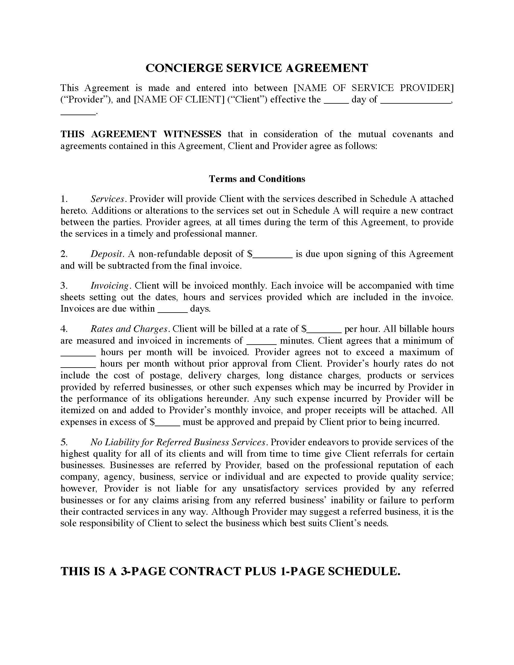 Concierge Contract Template Concierge Services Contract form Legal forms and
