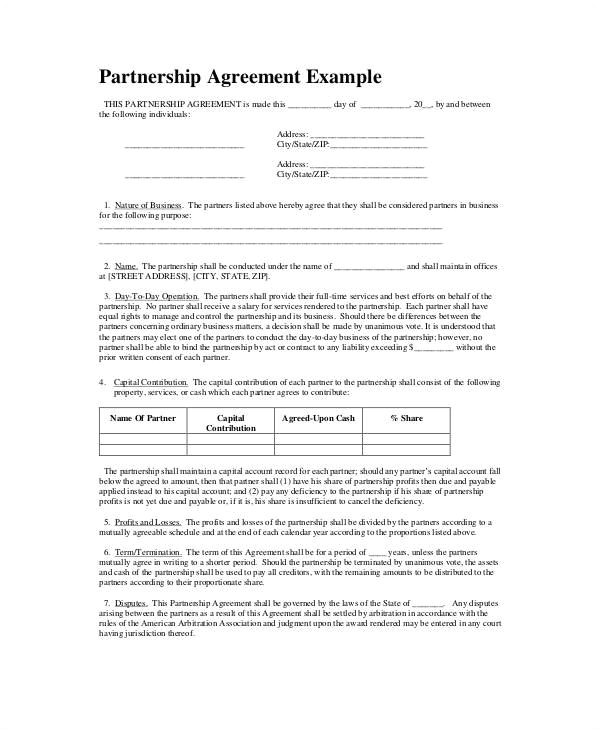 Concierge Contract Template Partnership Agreement Example Partnership Agreement